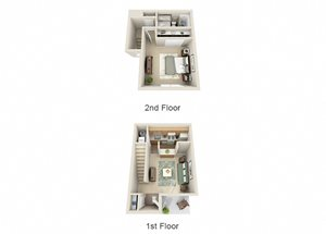 The Azalea One Bedroom One Bathroom Townhome Floor Plan