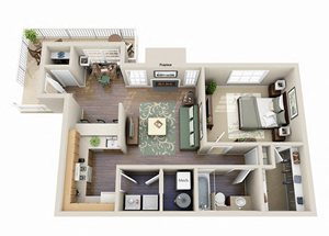 The Birch One Bedroom One Bathroom Floor Plan