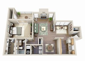 The Cypress One Bedroom One Bathroom Floor Plan