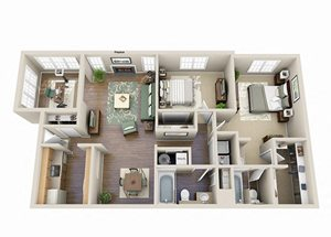 The Hibiscus Two Bedroom Two Bathroom Floor Plan