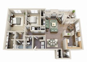 The Iris Two Bedroom Two Bathroom Floor Plan