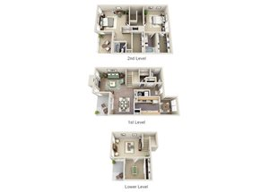 The Jasmine Three Bedroom 2.5 Bathroom Townhome Floor Plan