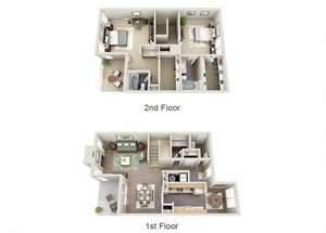 The Juniper Two Bedroom 2.5 Bathroom Townhome Floor Plan