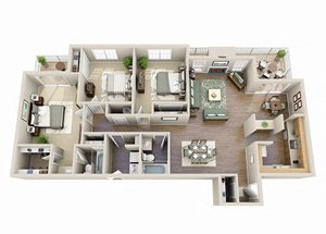 The Calla Lily Three Bedroom Two Bathroom Floor Plan