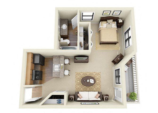 The Abbey Studio Bedroom 1 Bathroom Floor Plan