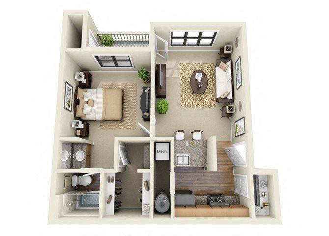 The Bentley 1 Bedroom 1 Bathroom Floor Plan