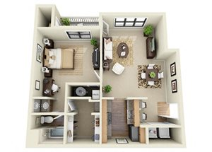 The Charleston 1 Bedroom 1 Bathroom Floor Plan