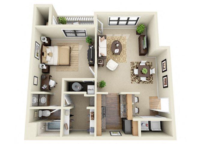 The Charleston 1 Bedroom 1 Bathroom Floor Plan