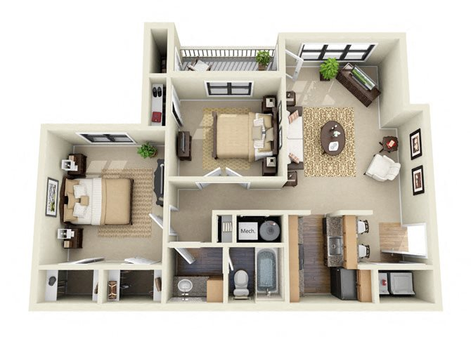 The Drake 2 Bedroom 1 Bathroom Floor Plan
