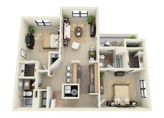 The Ellington 2 Bedroom 2 Bathroom Floor Plan