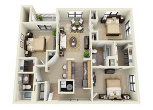 The Fitzgerald 3 Bedroom 2 Bathroom Floor Plan