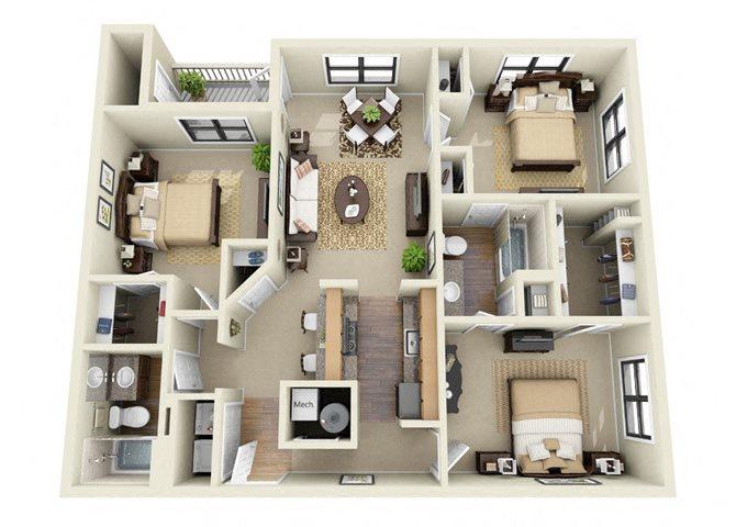 The Fitzgerald 3 Bedroom 2 Bathroom Floor Plan