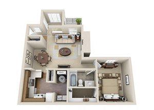 The Executive One Bedroom One Bathroom Apartment Floor Plan