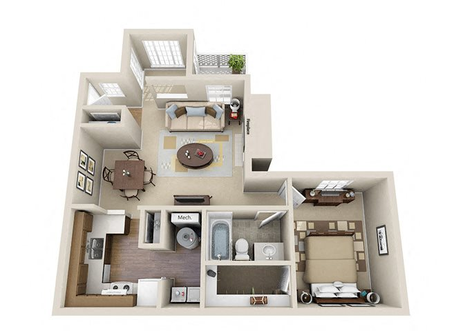 The Executive One Bedroom One Bathroom Apartment Floor Plan