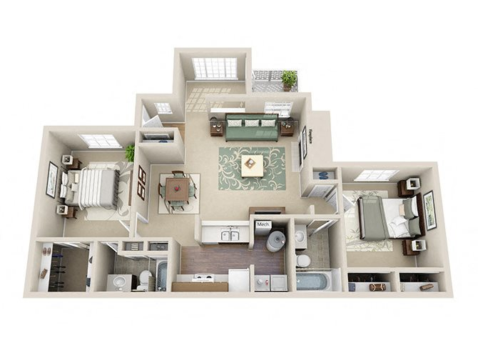 The Imperial Two Bedroom Two Bathroom Apartment Floor Plan