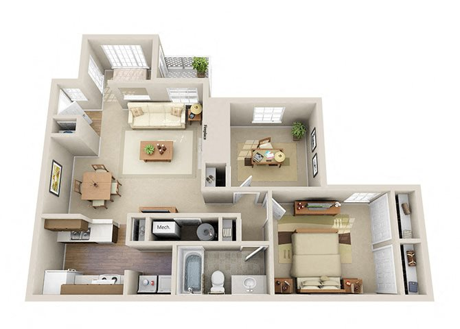 The Regal One Bedroom One Bathroom Plus Den Apartment Floor Plan