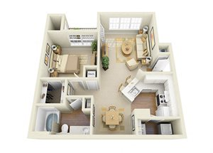 one bedroom apartment at Glen Park Apartment Homes in Smyrna, GA