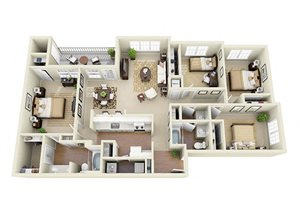 four bedroom apartment at Glen Park Apartment Homes in Smyrna, GA