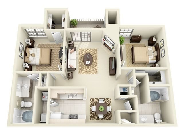 Palermo 2 Bedroom 2 Bathroom Floorplan