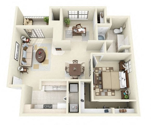 Napoli 1 Bedroom 1 Bathroom Floorplan