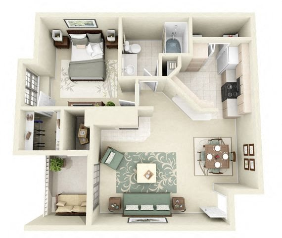 Monte Carlo 1 Bedroom 1 Bathroom Floorplan