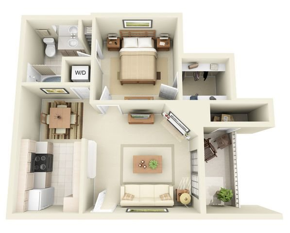 Valencia 1 Bedroom 1 Bathroom Floorplan