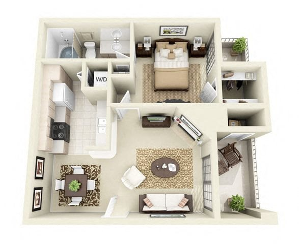 Barcelona 1 Bedroom 1 Bathroom Floorplan