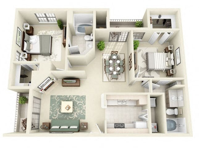 Marseilles 2 Bedroom 2 Bathroom Floorplan