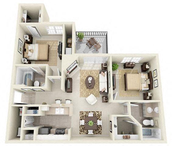 Maple 2 Bedroom 2 Bath Floor Plan 3D Image