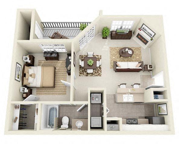 Aspen 1 Bedroom 1 Bath Floor Plan 3D Image