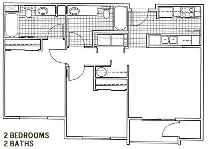 2 Bedroom, 2 Bath Floor Plan 2