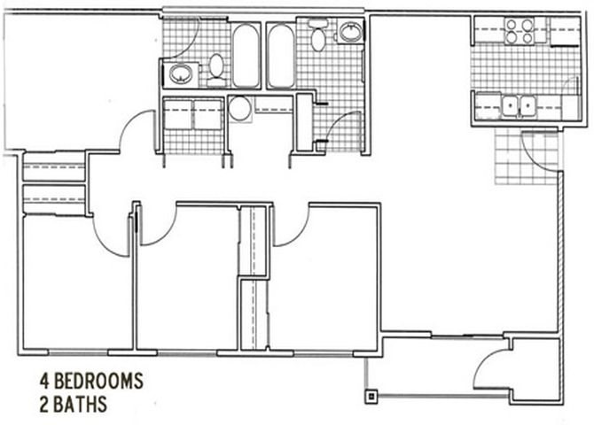 4 Bedroom, 2 Bath Floor Plan 4