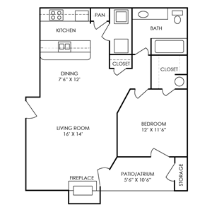 Carter Floor Plan at Waterford Place Apartments in Atlanta, Georgia, GA