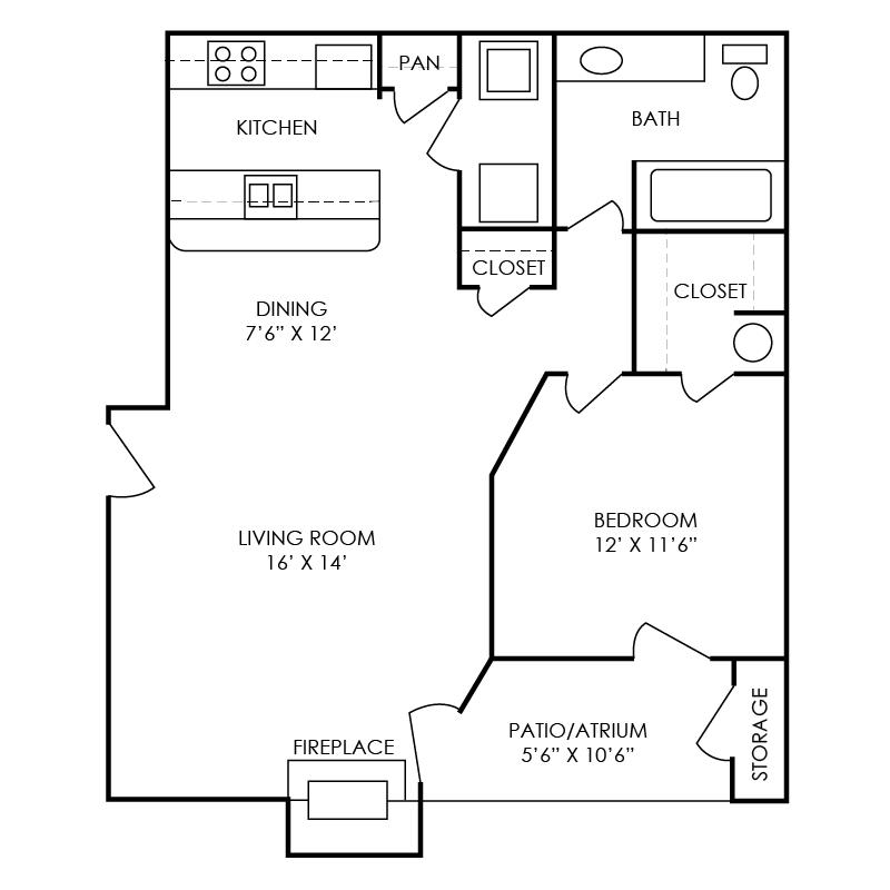 Carter Floor Plan at Waterford Place Apartments in Atlanta, Georgia, GA