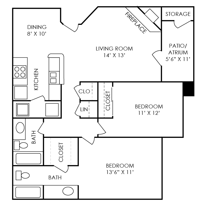 Franklin Floor Plan at Waterford Place Apartments in Atlanta, Georgia, GA