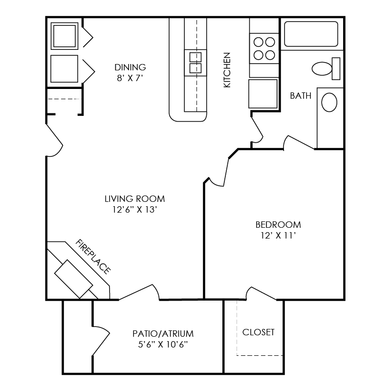 King Floor Plan at Waterford Place Apartments in Atlanta, Georgia, GA