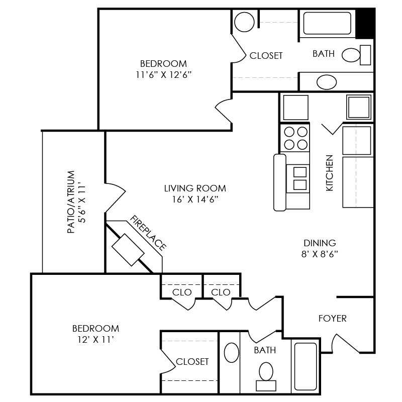 Washington Floor Plan at Waterford Place Apartments in Atlanta, Georgia, GA
