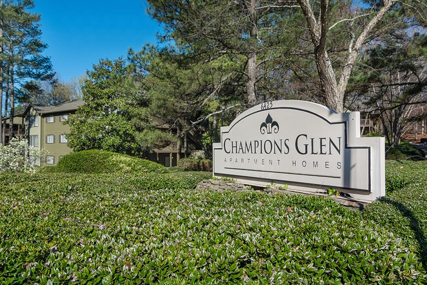 Front Signage at Champions Glen Apartments in Union City, Georgia, GA 30291