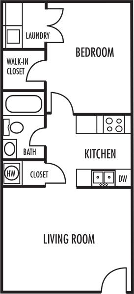 One Bedroom Floor Plan at Woodbrook Apartments in Monroe, North Carolina, NC