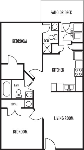 Two Bedroom Two Bath Floor Plan at Woodbrook Apartments in Monroe, North Carolina, NC