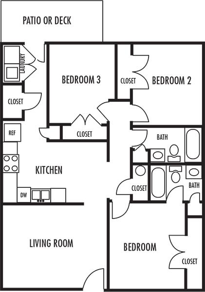 Three Bedroom Floor Plan at Woodbrook Apartments in Monroe, North Carolina, NC