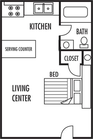 Studio Floor Plan at Woodbrook Apartments in Monroe, North Carolina, NA