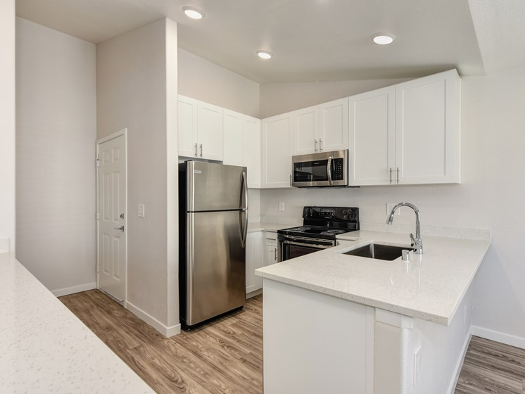 Luxury Apartment Community Kitchen with Stainless Steel Appliances and Modern Cabinets