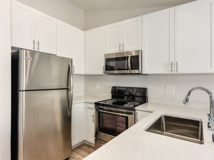 Luxury Apartment Community Kitchen with Stainless Steel Appliances and Modern Counters