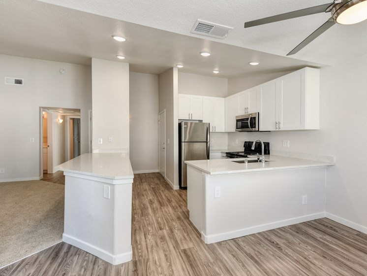 Luxury Apartment Community Kitchen with View of Entryway and Wood Inspired Floors