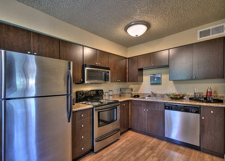 Luxury Apartment Kitchen with Stainless Steel Appliances Refrigerator Microwave Oven Stove and Dishwasher