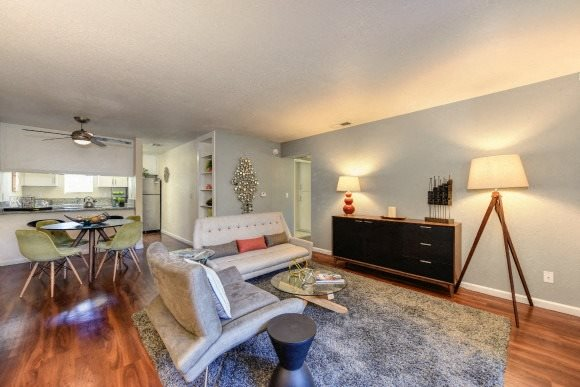Luxury Apartment Community Living Room with Hardwood Inspired Floors