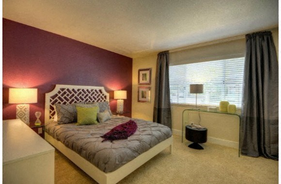 Bedroom with Window, Carpet, Burgundy