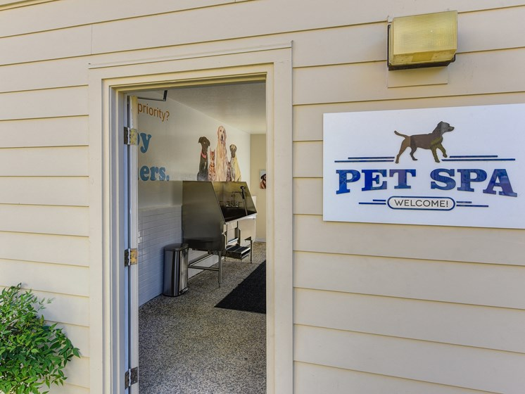 Pet Spa Entrance with Pet Spa Sign, Open Door with View of Dog Washing Station,