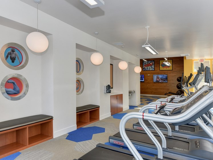 Community Fitness Center With Treadmills, Ceiling Lights, Shoe Cubby, and Yoga Balls